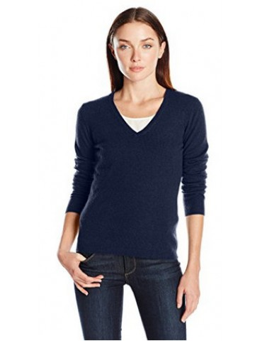 Lark & Ro Women's 100% Cashmere Slim-Fit Basic V-Neck Sweater