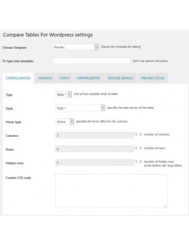 Compare table for Wordpress - Wordpress Plugin