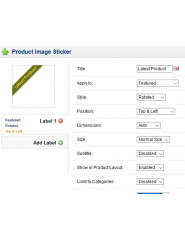 Product Image Sticker extension for Opencart