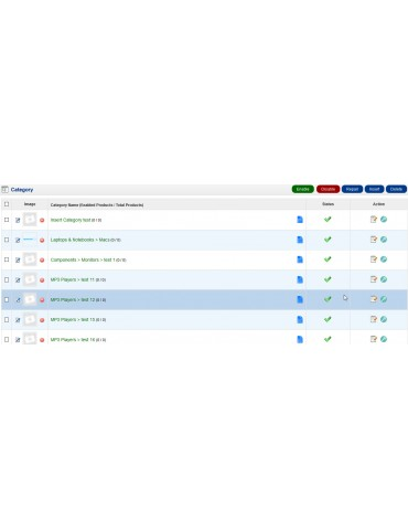 Category Product Manager extension for Opencart