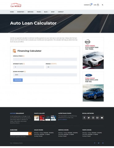 Cars World - responsive Wordpress theme