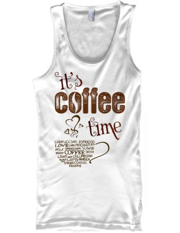 It is coffee time - Gildan unisex tank - Hanes tagless Tee